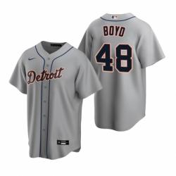 Mens Nike Detroit Tigers 48 Matthew Boyd Gray Road Stitched Baseball Jersey