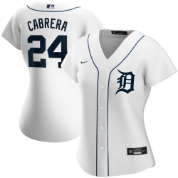 Detroit Tigers 24 Miguel Cabrera Nike Women Home 2020 MLB Player Jersey White