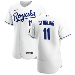 Men Kansas City Royals 11 Bubba Starling Men Nike White Home 2020 Flex Base Player MLB Jersey