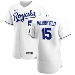 Men Kansas City Royals 15 Whit Merrifield Men Nike White Home 2020 Flex Base Player MLB Jersey