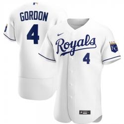 Men Kansas City Royals 4 Alex Gordon Men Nike White Home 2020 Flex Base Player MLB Jersey
