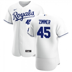 Men Kansas City Royals 45 Kyle Zimmer Men Nike White Home 2020 Flex Base Player MLB Jersey