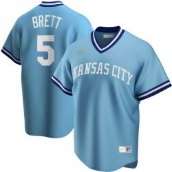 Men Kansas City Royals 5 George Brett Nike Road Cooperstown Collection Player MLB Jersey Light Blue