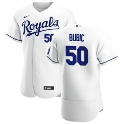 Men Kansas City Royals 50 Kris Bubic Men Nike White Home 2020 Flex Base Player MLB Jersey