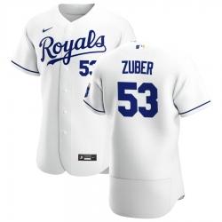Men Kansas City Royals 53 Tyler Zuber Men Nike White Home 2020 Flex Base Player MLB Jersey