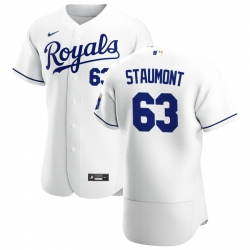 Men Kansas City Royals 63 Josh Staumont Men Nike White Home 2020 Flex Base Player MLB Jersey