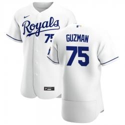 Men Kansas City Royals 75 Jeison Guzman Men Nike White Home 2020 Flex Base Player MLB Jersey