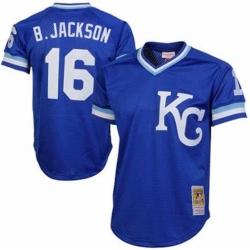 Men Kansas City Royals Bo Jackson 16 Mitchell and Ness Pull Over Stitched MLB Jersey