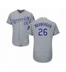 Mens Kansas City Royals 26 Brad Boxberger Grey Road Flex Base Authentic Collection Baseball Jersey
