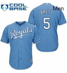 Mens Majestic Kansas City Royals 5 George Brett Replica Light Blue Alternate 1 Cool Base MLB Jersey