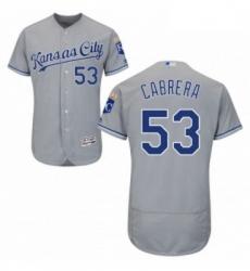 Mens Majestic Kansas City Royals 53 Melky Cabrera Grey Flexbase Authentic Collection MLB Jersey