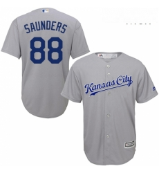 Mens Majestic Kansas City Royals 88 Michael Saunders Replica Grey Road Cool Base MLB Jersey