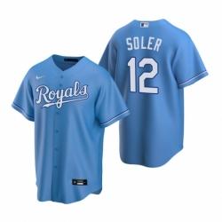 Mens Nike Kansas City Royals 12 Jorge Soler Light Blue Alternate Stitched Baseball Jerse