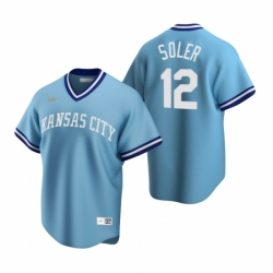 Mens Nike Kansas City Royals 12 Jorge Soler Light Blue Cooperstown Collection Road Stitched Baseball Jerse