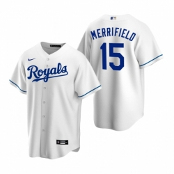 Mens Nike Kansas City Royals 15 Whit Merrifield White Home Stitched Baseball Jersey