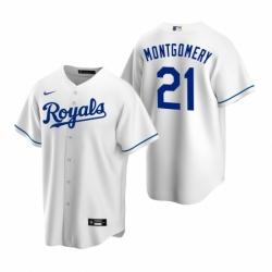 Mens Nike Kansas City Royals 21 Mike Montgomery White Home Stitched Baseball Jersey