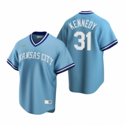 Mens Nike Kansas City Royals 31 Ian Kennedy Light Blue Cooperstown Collection Road Stitched Baseball Jerse