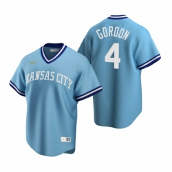 Mens Nike Kansas City Royals 4 Alex Gordon Light Blue Cooperstown Collection Road Stitched Baseball Jerse
