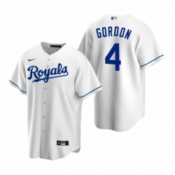 Mens Nike Kansas City Royals 4 Alex Gordon White Home Stitched Baseball Jerse