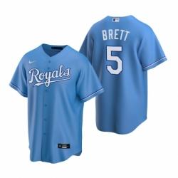 Mens Nike Kansas City Royals 5 George Brett Light Blue Alternate Stitched Baseball Jerse
