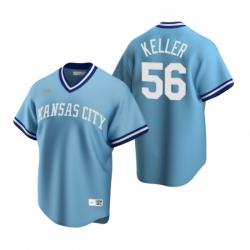 Mens Nike Kansas City Royals 56 Brad Keller Light Blue Cooperstown Collection Road Stitched Baseball Jersey
