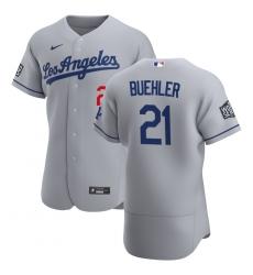 Men Los Angeles Dodgers 21 Walker Buehler Men Nike Gray Road 2020 World Series Bound Flex Base Team MLB Jersey