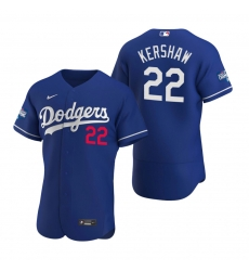 Men Los Angeles Dodgers 22 Clayton Kershaw Royal 2020 World Series Champions Flex Base Jersey