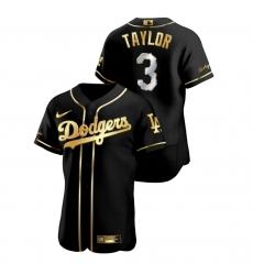 Men Los Angeles Dodgers 3 Chris Taylor Black Gold 2020 Nike Flexbase Jersey