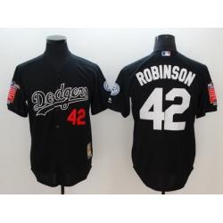 Men Los Angeles Dodgers 42 Robinson Black Throwback MLB Jerseys