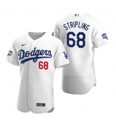 Men Los Angeles Dodgers 68 Ross Stripling White 2020 World Series Champions Flex Base Jersey