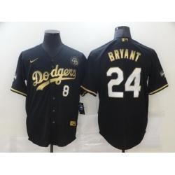 Men Los Angeles Dodgers 8 24 Kobe Bryant Black Gold Stitched MLB Cool Base Nike Jersey