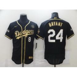 Men Los Angeles Dodgers 8 24 Kobe Bryant Black Gold Stitched MLB Flex Base Nike Jersey