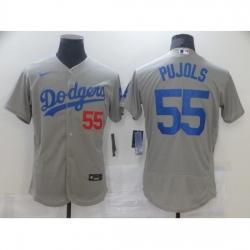 Men Los Angeles Dodgers Albert Pujols 55 Grey Nike Road Flex Base Authentic Collection Baseball Jersey