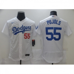 Men Los Angeles Dodgers Albert Pujols 55 White Nike Road Flex Base Authentic Collection Baseball Jersey