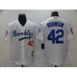 Men Los Angeles Dodgers Brooklyn Jackie Robinson 42 White Flex Base MLB Jerseys