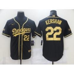 Men Los Angeles Dodgers Clayton Kershaw 22 Black Gold MLB Stitched Jersey