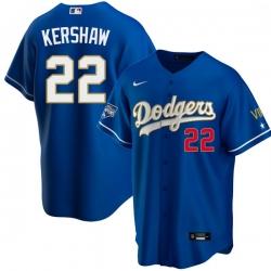 Men Los Angeles Dodgers Clayton Kershaw 22 Championship Gold Trim Blue Limited All Stitched Flex Base Jersey