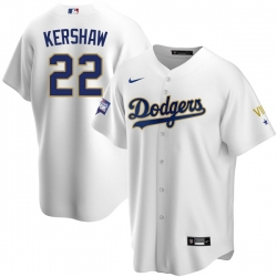 Men Los Angeles Dodgers Clayton Kershaw 22 Championship Gold Trim White Limited All Stitched Cool Base Jersey