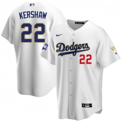Men Los Angeles Dodgers Clayton Kershaw 22 Championship Gold Trim White Limited All Stitched Flex Base Jersey
