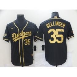 Men Los Angeles Dodgers Cody Bellinger 35 Black Gold MLB Stitched Jersey