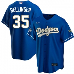 Men Los Angeles Dodgers Cody Bellinger 35 Championship Gold Trim Blue Limited All Stitched Cool Base Jersey