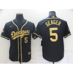 Men Los Angeles Dodgers Corey Seager 5 Black Gold MLB Stitched Jersey