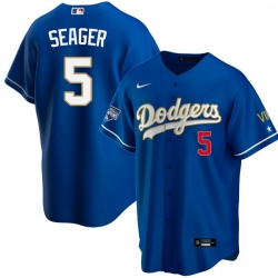 Men Los Angeles Dodgers Corey Seager 5 Championship Gold Trim Blue Limited All Stitched Flex Base Jersey