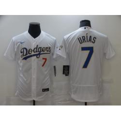 Men Los Angeles Dodgers Julio Urias 7 Championship Gold Trim White Limited All Stitched Flex Base Jersey