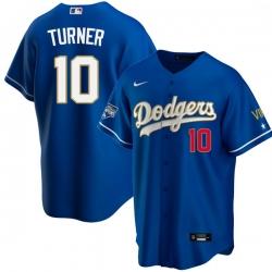 Men Los Angeles Dodgers Justin Turner 10 Championship Gold Trim Blue Limited All Stitched Flex Base Jersey