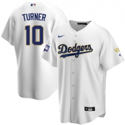 Men Los Angeles Dodgers Justin Turner 10 Championship Gold Trim White Limited All Stitched Cool Base Jersey