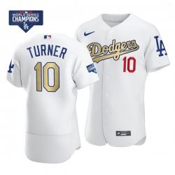 Men Los Angeles Dodgers Justin Turner 10 Gold Program White Flex Base Stitched Jersey