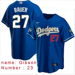 Men Los Angeles Dodgers Kirk Gibson 23 Championship Gold Trim Blue Limited All Stitched Flex Base Jersey
