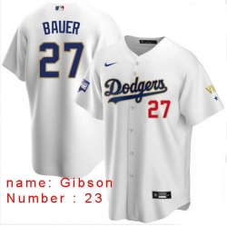 Men Los Angeles Dodgers Kirk Gibson 23 Championship Gold Trim White Limited All Stitched Flex Base Jersey