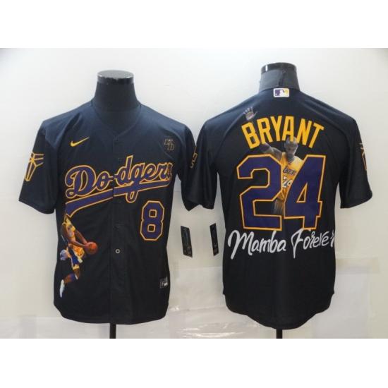 Men Los Angeles Dodgers Kobe Bryant 8 24 Mamba MLB Manba Black Purple Jersey